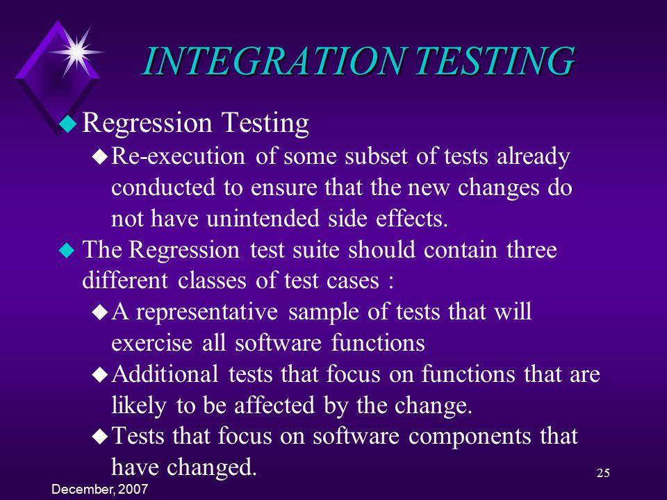 INTEGRATION TESTING Regression Testing