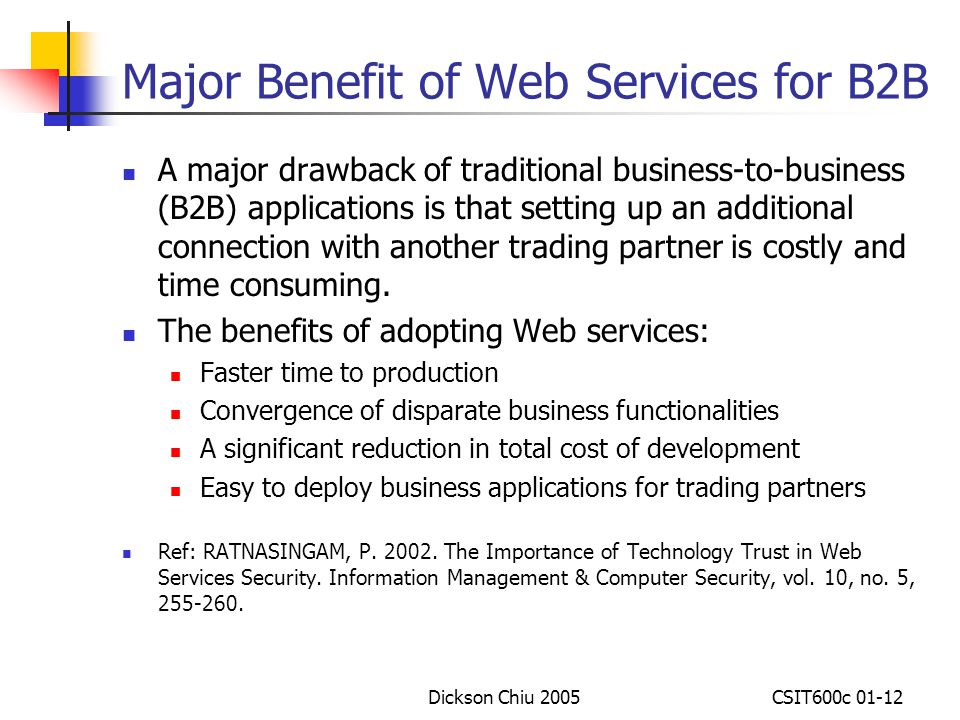 Major Benefit of Web Services for B2B