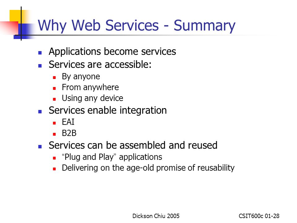 Why Web Services - Summary