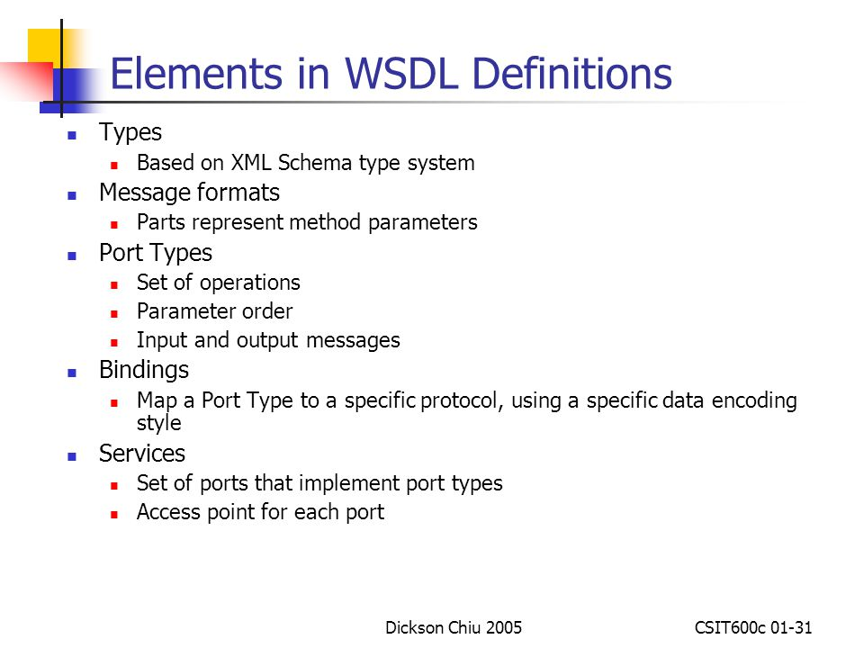 Elements in WSDL Definitions