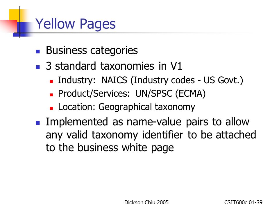 Yellow Pages Business categories 3 standard taxonomies in V1