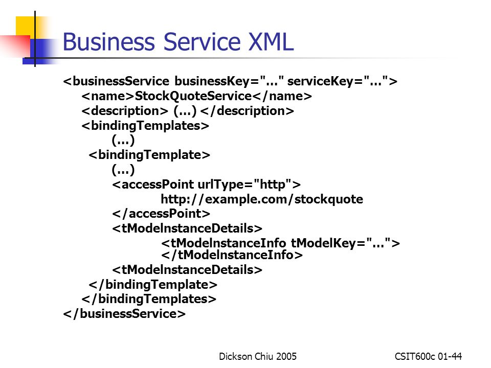 Business Service XML <businessService businessKey= ... serviceKey= ... > <name>StockQuoteService</name>