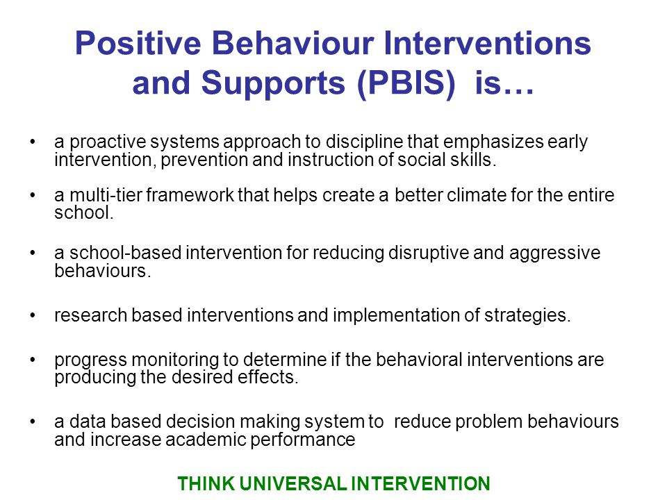 positive behavior Positive behavior support (pbs) is an approach to managing students who present behavioral challenges in the classroom this lesson defines pbs and.