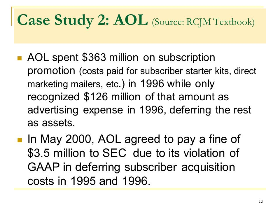 aol case study 3 Among many initiatives in the early years of aol, case personally championed many innovative online interactive titles and games,  steve case, jerry levin,.