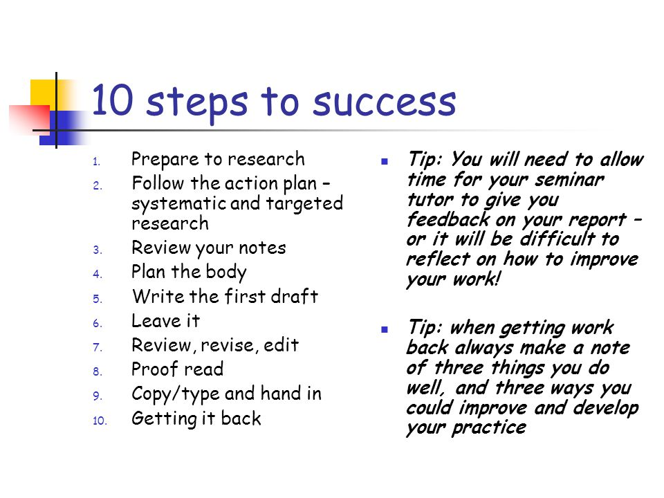 10 steps to success Prepare to research