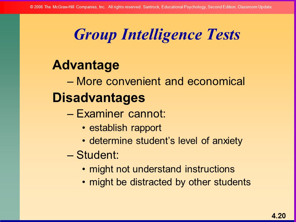 individual and group test of intelligence A group test consists of tests that can be administered to a large group of people  at one time this is opposite of an individual test, which is administered to one.