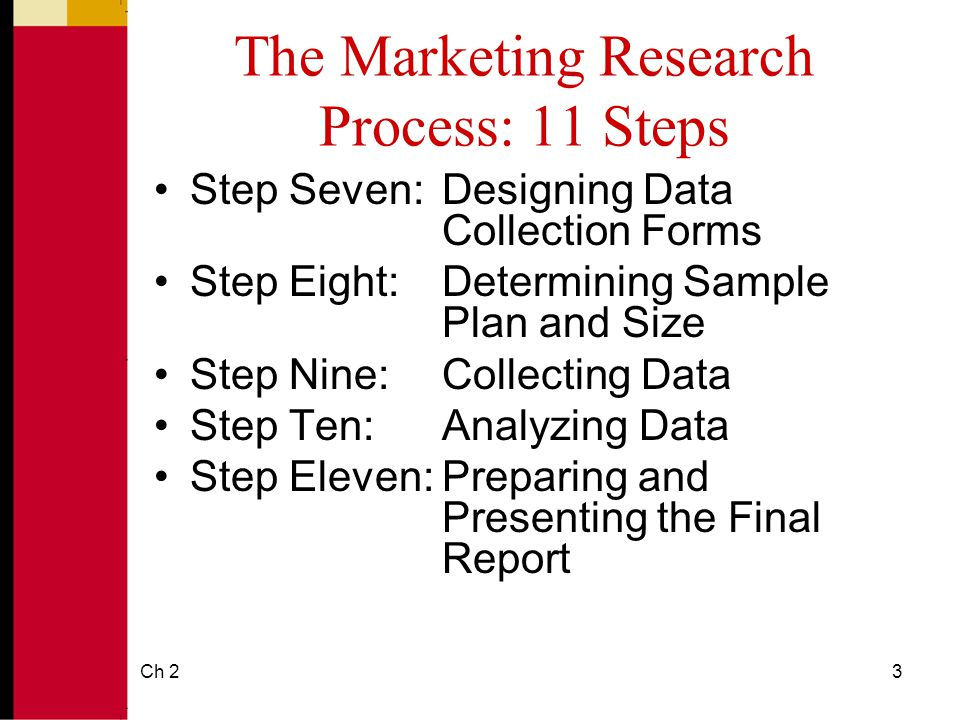 steps in marketing research process Creating an effective marketing plan requires a lot of research and  to start this process, complete these four steps  5 creating a marketing plan for.