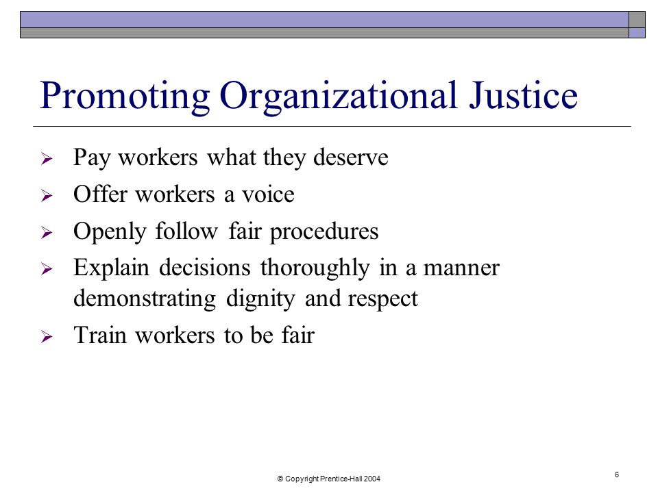 Promoting Organizational Justice