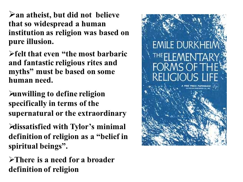 the separation of sacred from profane in the elementary forms of religious belief by emile durkheim For more medical and healthcare related services visit : com for more medical and healthcare related services visit : http://www medverdictcom the elementary forms of religious life defining religion http:// wwwphwikicom/.
