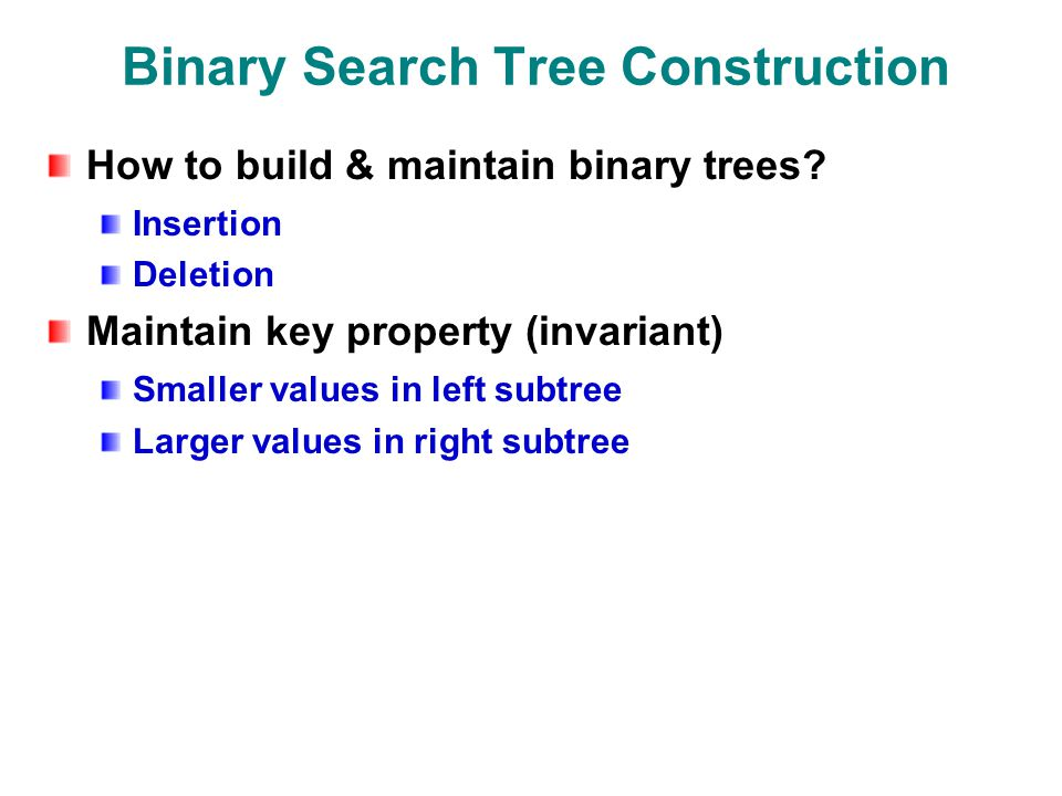 Binary search tree insertion deletion algorithm