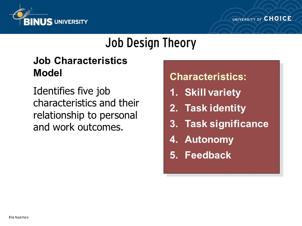 Job Design Theory Job Characteristics Model