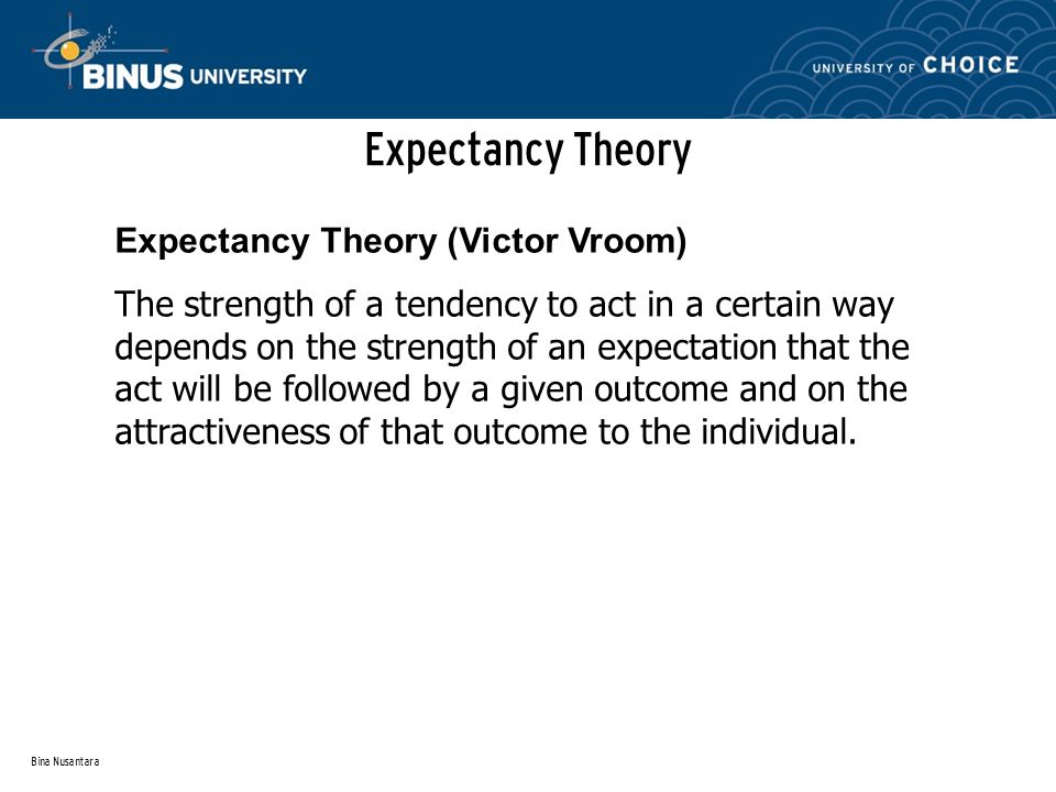 Expectancy Theory Expectancy Theory (Victor Vroom)