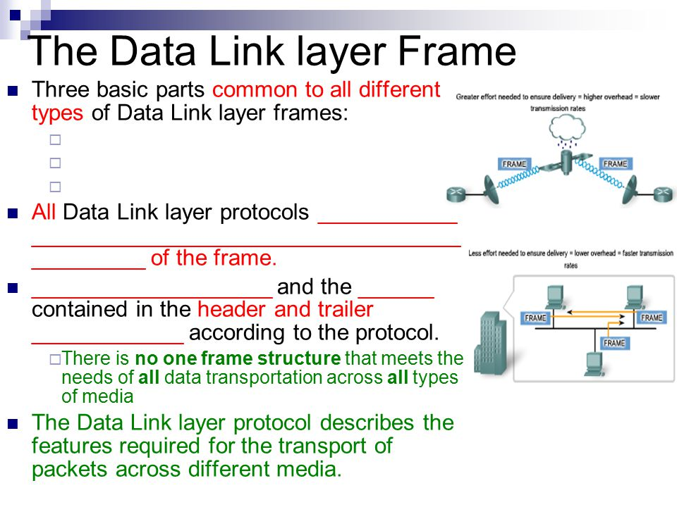 data link layer The data link layer is essentially responsible for the transfer of data across the physical layer the transfer may or may not be reliable depending on the protocol used conceptually the data link layer is commonly split into two sub layers.