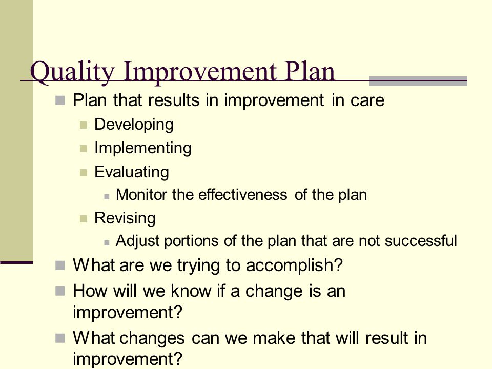 how to develop a quality improvement plan