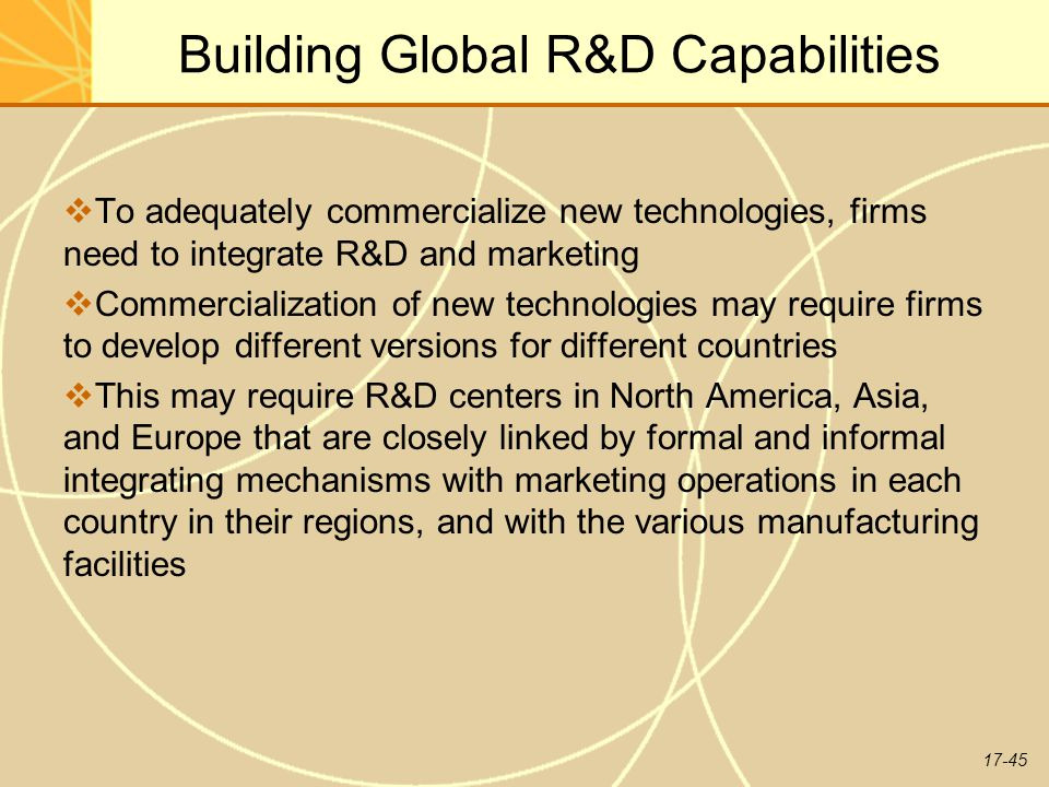 global marketing and r d Close links between r&d - marketing customer needs drive product development new products designed for ease of manufacture time-to-market is minimized development costs are kept in check building global r&d capabilities integrate r&d and marketing may need different versions for different countries may require multiple r&d centers.