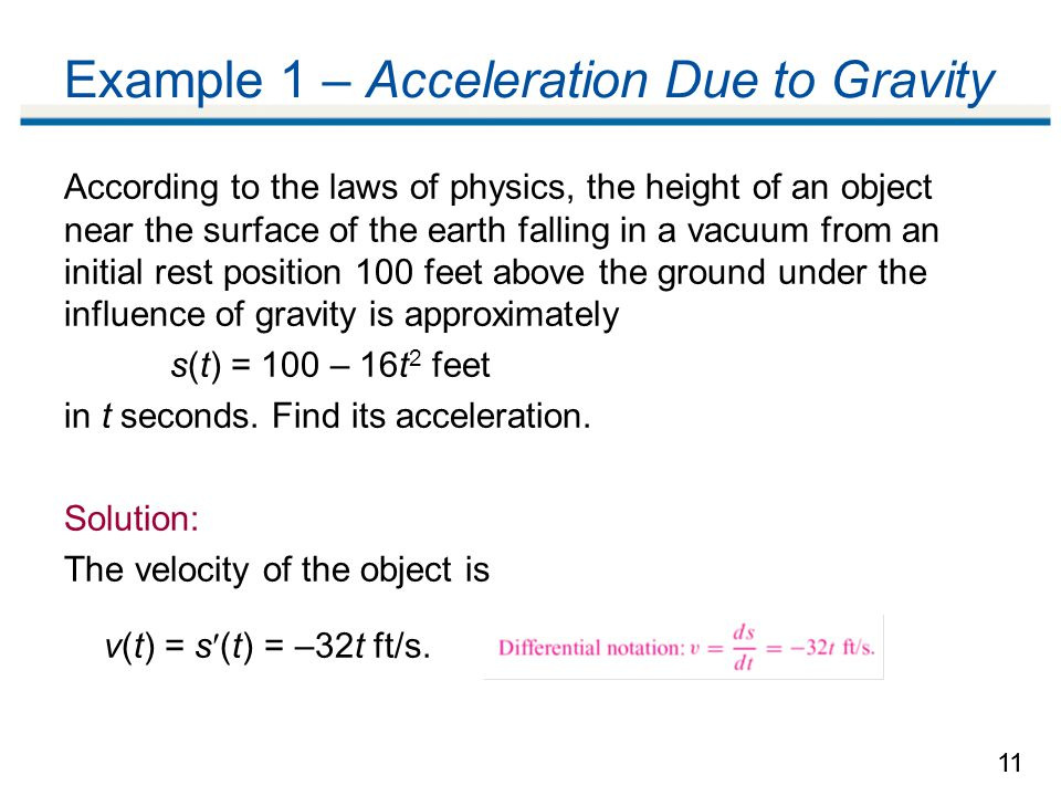how to find the initial acceleration of a falling object