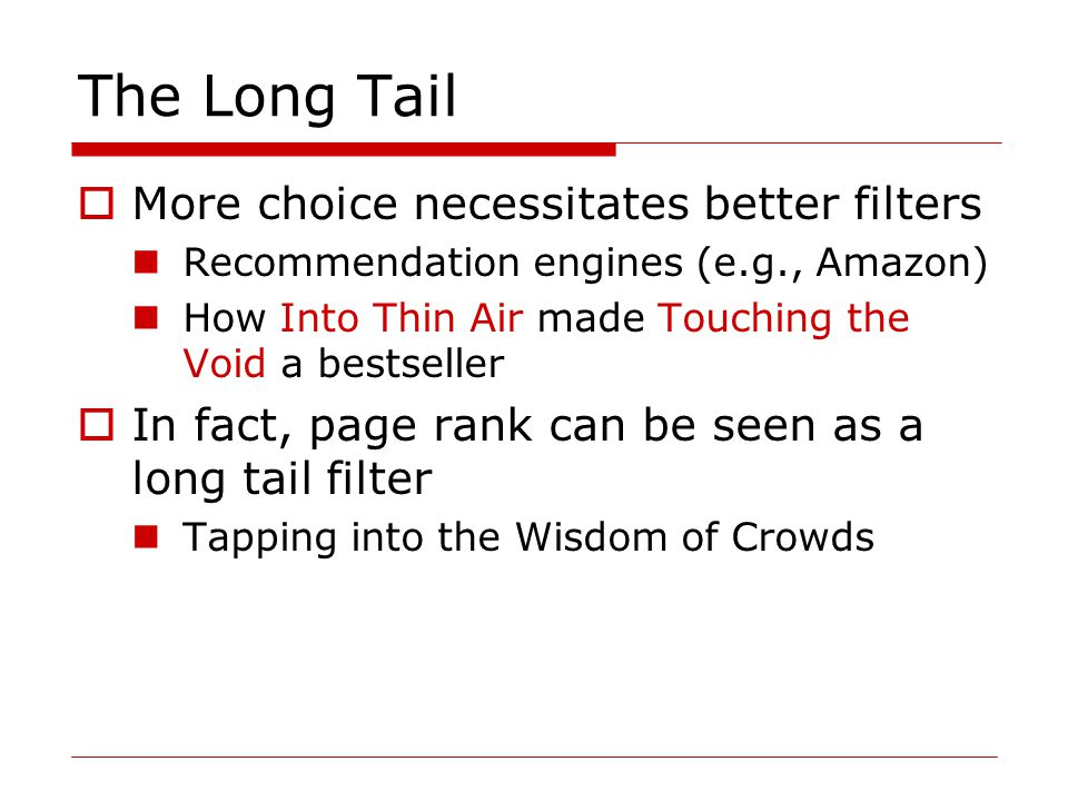amazon long tail essay Free essay on amazon almost overnight amzoncom quickly became the world's largest e-tail bookstore in the world amazon amazoncom's strategy in the long.
