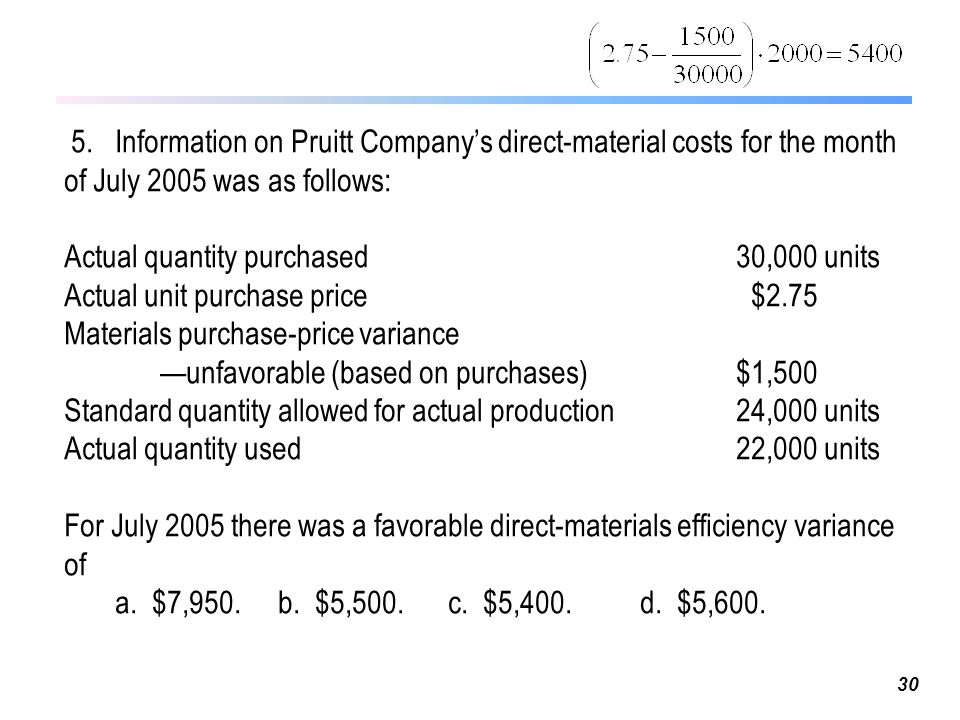 direct material price variance and flexible 7-28 7-35 (30 min) direct manufacturing labor and direct materials variances, missing data 1 actual costs incurred (actual input quantity × actual price.