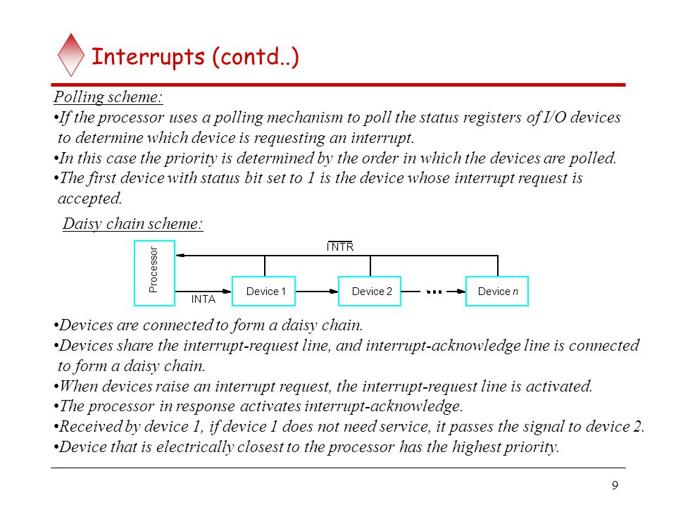 Interrupts (contd..) When I/O devices were organized into a priority structure, each device had its own.