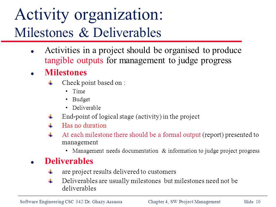 milestones vs deliverables