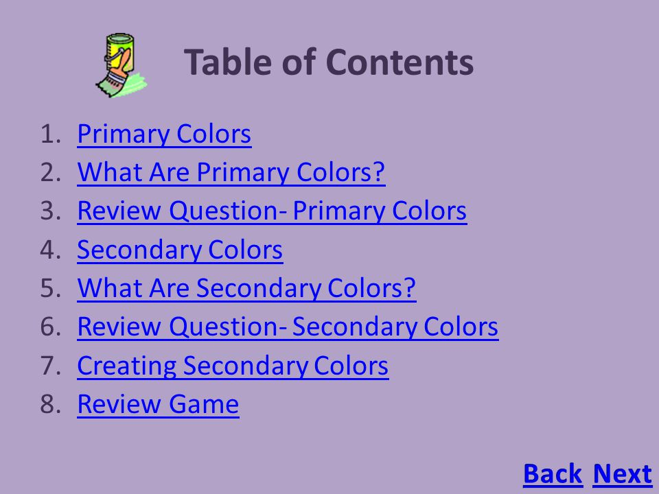 Table Of Contents Primary Colors What Are