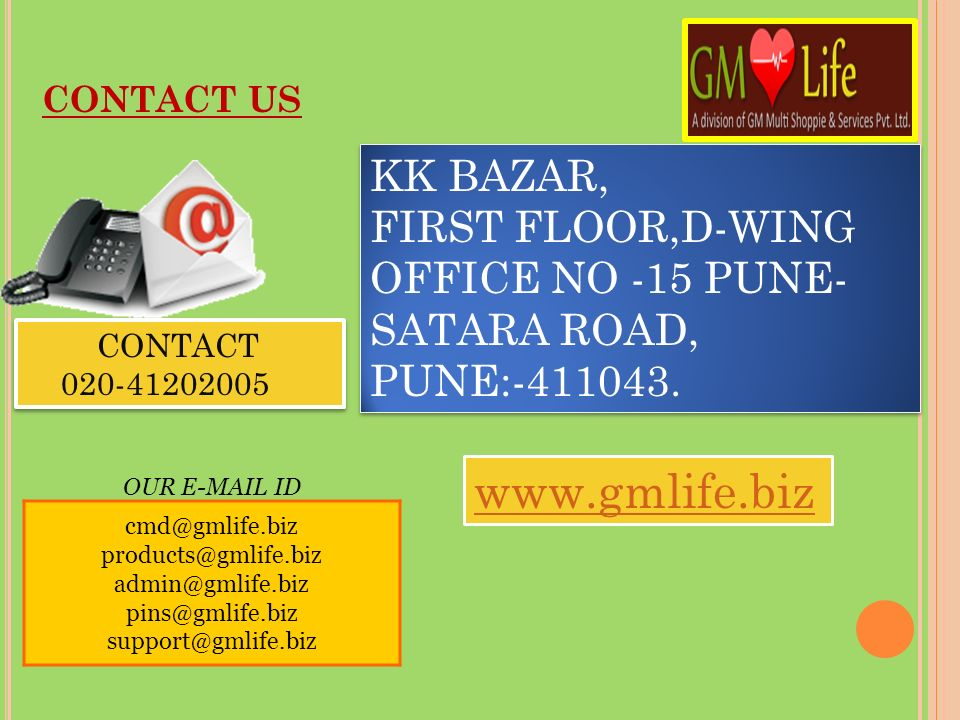 CONTACT US KK BAZAR, FIRST FLOOR,D-WING OFFICE NO -15 PUNE-SATARA ROAD, PUNE:-411043. CONTACT. 020-41202005.
