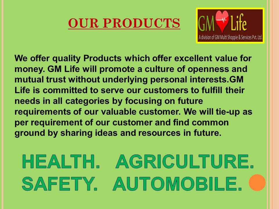 HEALTH. AGRICULTURE. SAFETY. AUTOMOBILE.