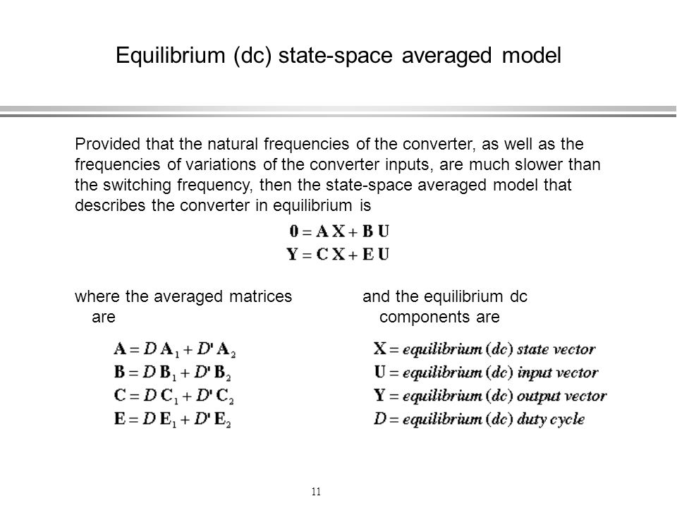 Equilibrium (dc) state-space averaged model