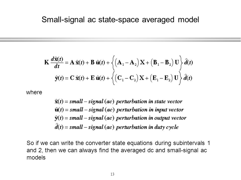 Small-signal ac state-space averaged model
