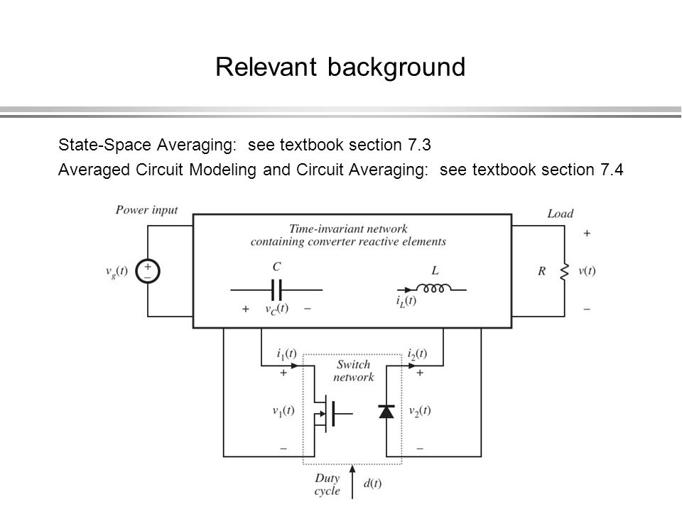 Relevant background State-Space Averaging: see textbook section 7.3