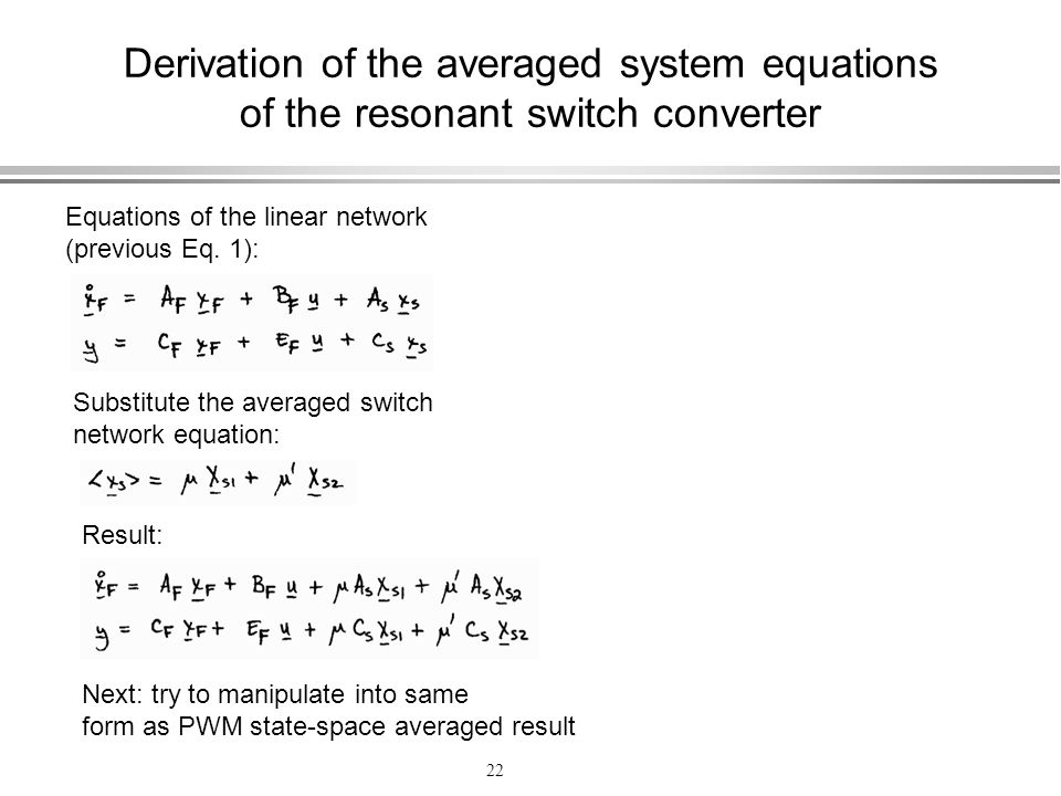 Derivation of the averaged system equations of the resonant switch converter