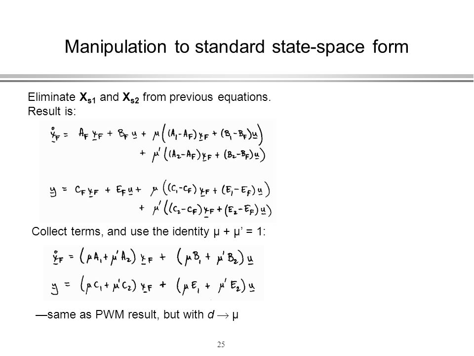 Manipulation to standard state-space form