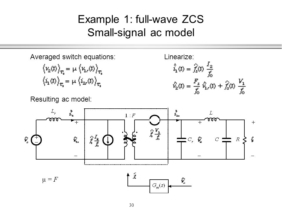 Example 1: full-wave ZCS Small-signal ac model