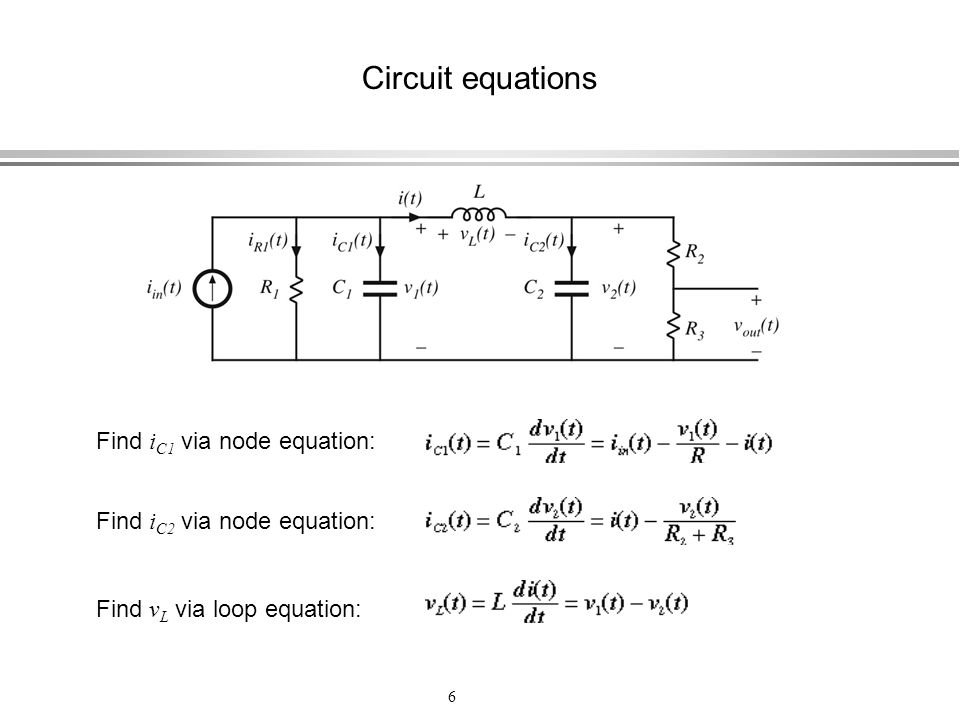 Circuit equations Find iC1 via node equation: