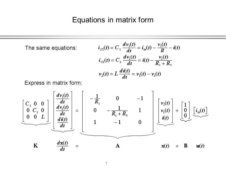 Equations in matrix form