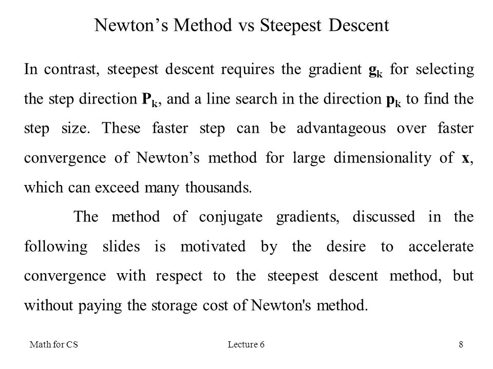 Newton's Method vs Steepest Descent