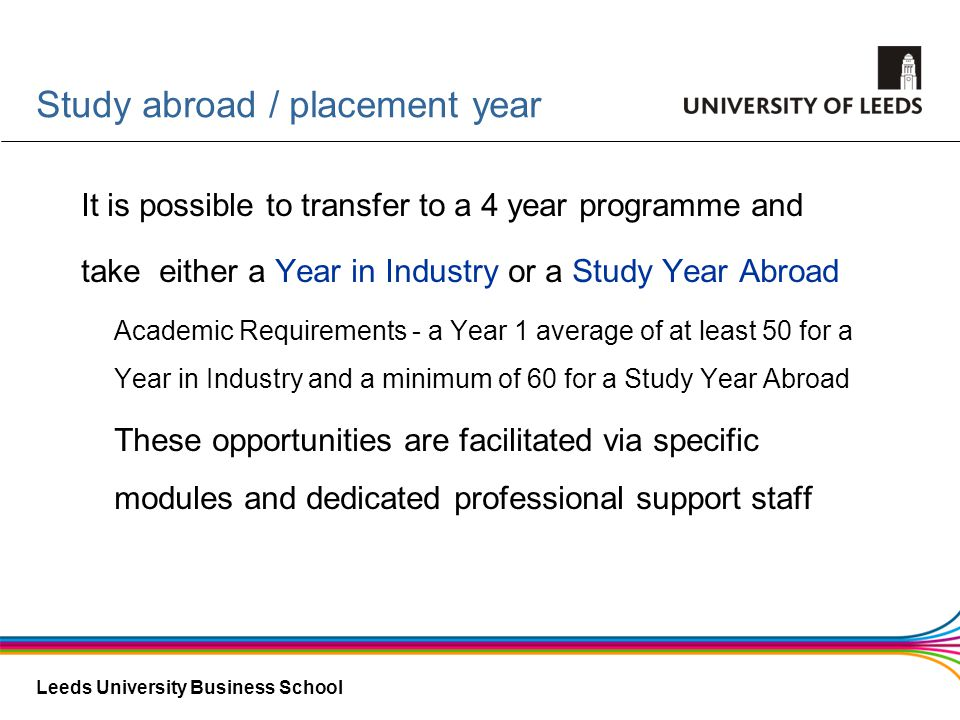 Study abroad / placement year