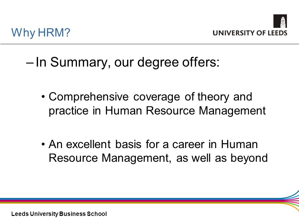 In Summary, our degree offers: