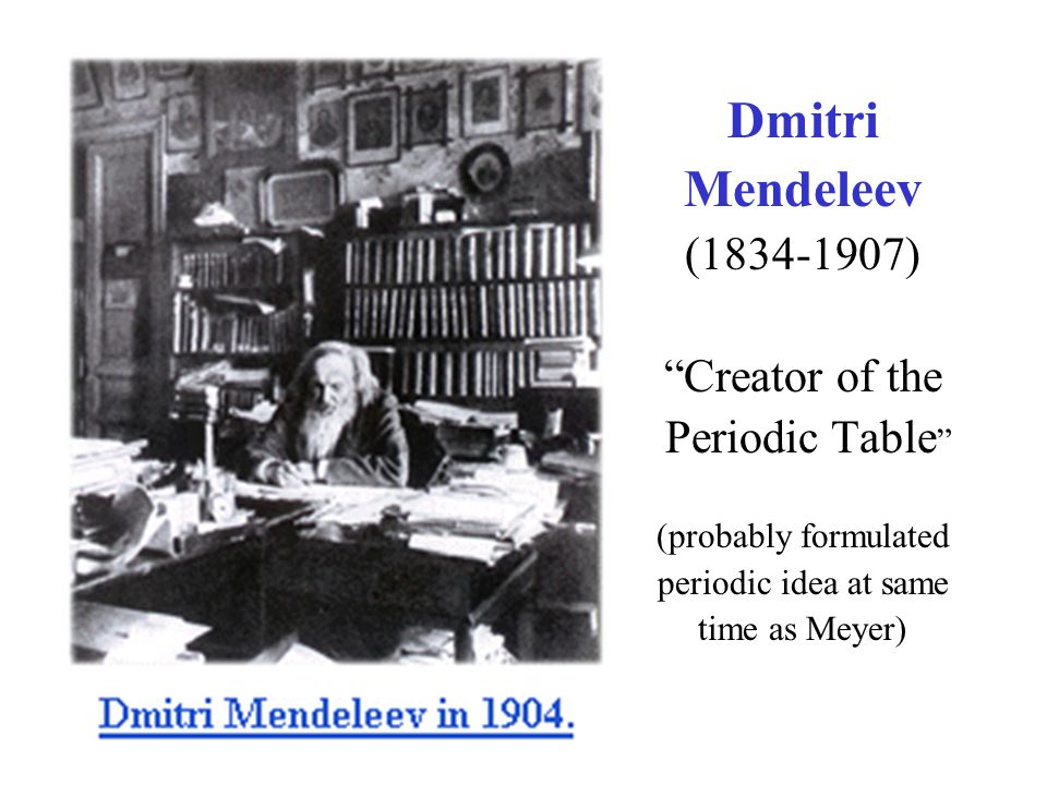 What are atoms ppt video online download dmitri mendeleev 1834 1907 creator of the periodic table urtaz Image collections