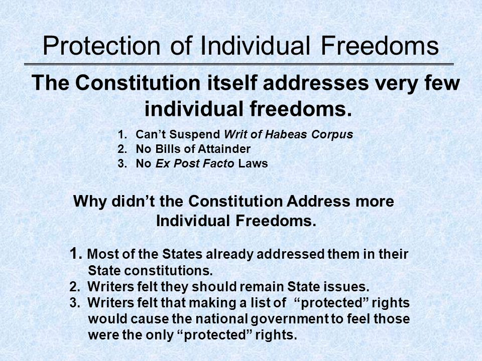 individual constitution and systems of the For one thing, it did not include a specific declaration - or bill - of individual rights   they provided the missing ingredient that made our constitutional system.