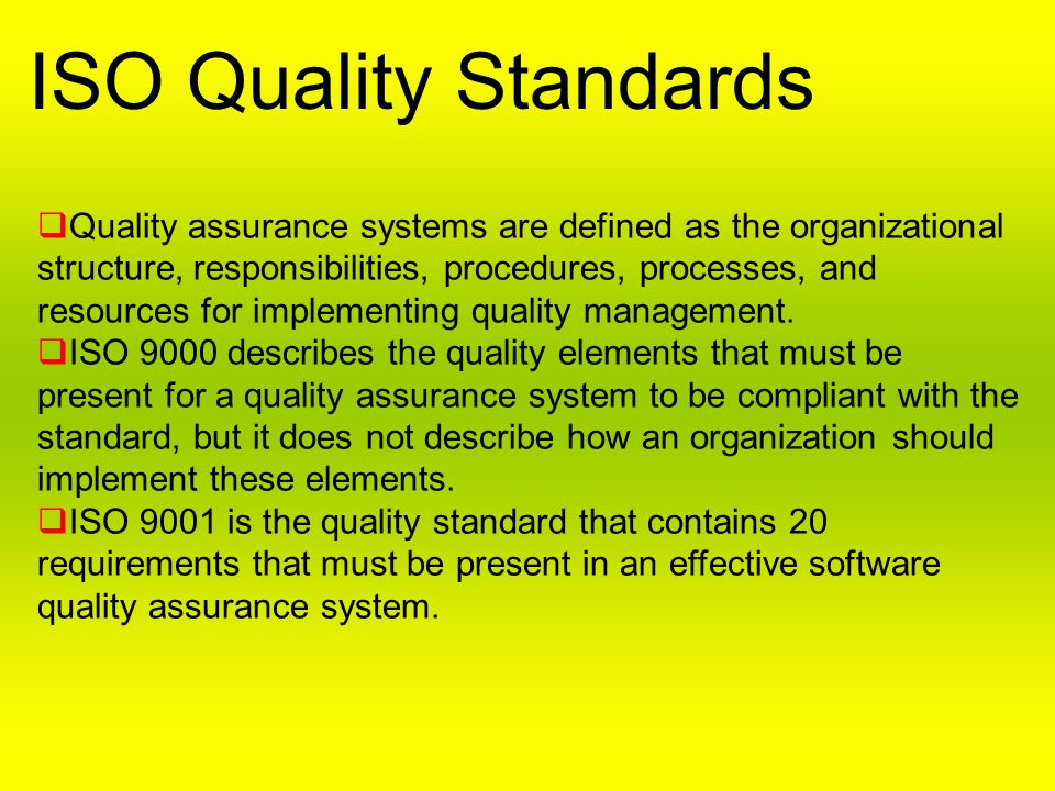 ISO Quality Standards