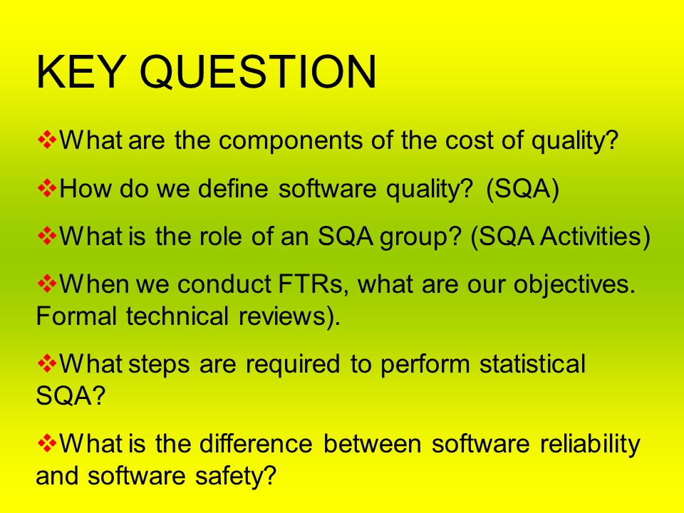KEY QUESTION What are the components of the cost of quality