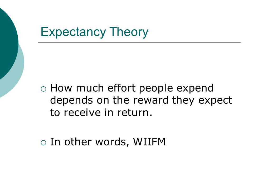 Expectancy Theory How much effort people expend depends on the reward they expect to receive in return.