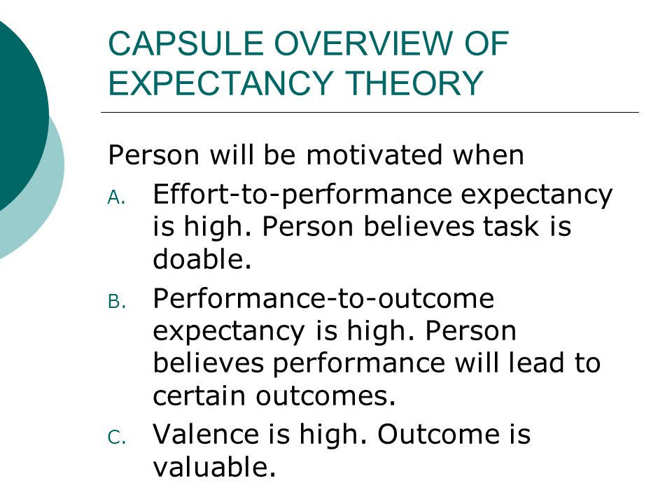 CAPSULE OVERVIEW OF EXPECTANCY THEORY