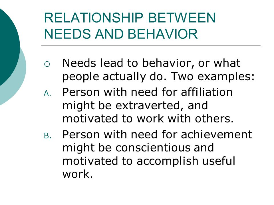RELATIONSHIP BETWEEN NEEDS AND BEHAVIOR