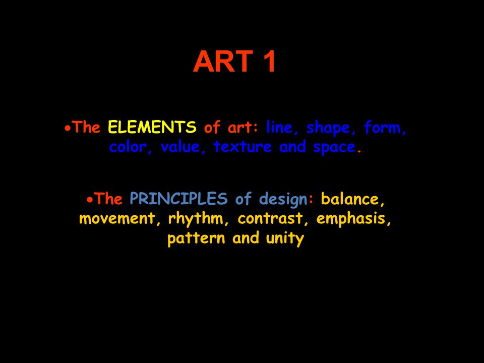Elements And Principles Of Design Space : Art the elements of line shape form color value