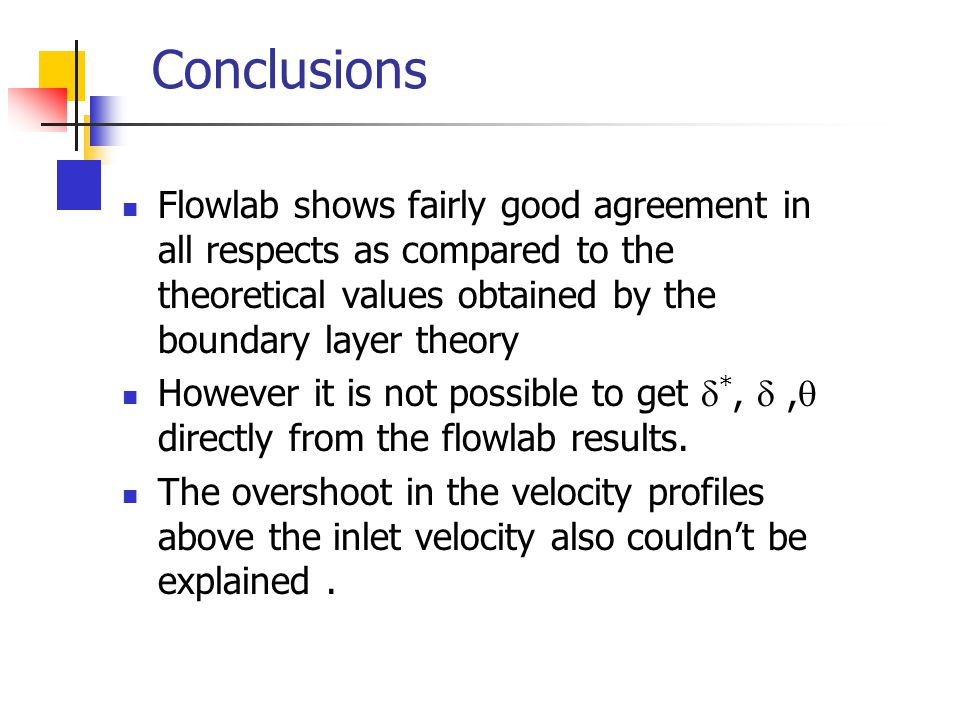 Conclusions Flowlab shows fairly good agreement in all respects as compared to the theoretical values obtained by the boundary layer theory.