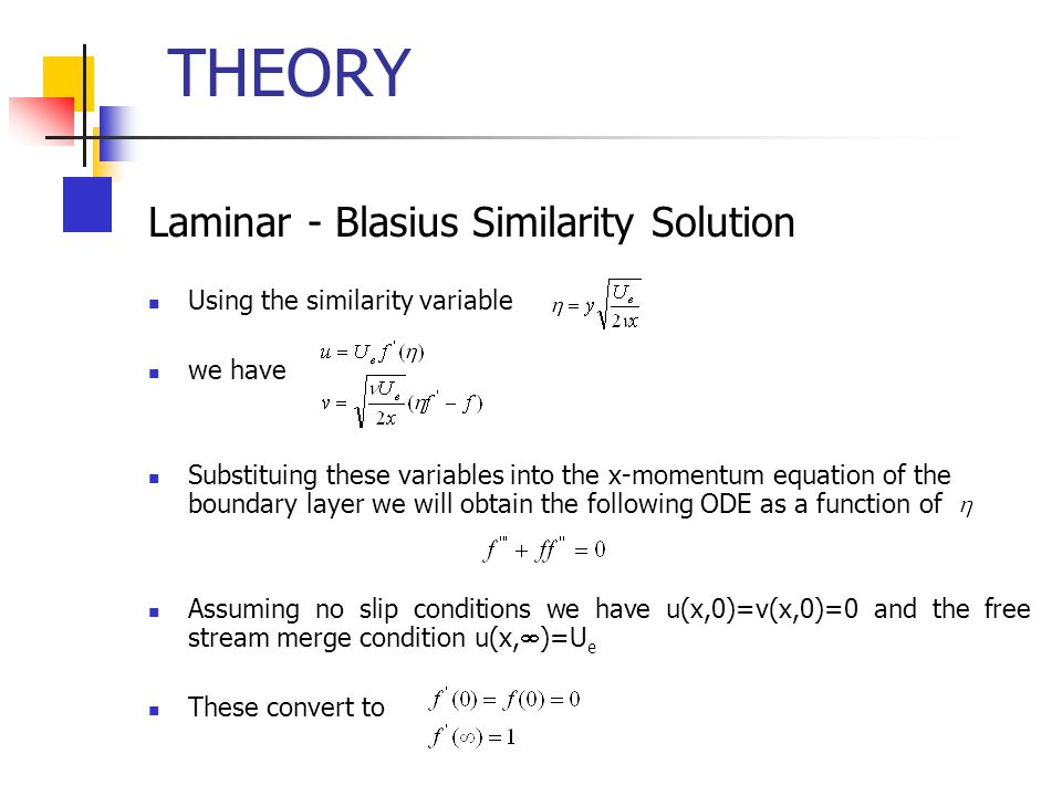 THEORY Laminar - Blasius Similarity Solution