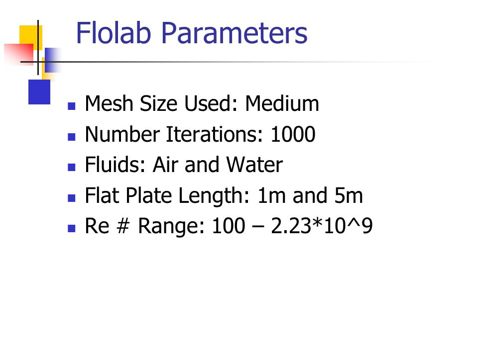 Flolab Parameters Mesh Size Used: Medium Number Iterations: 1000