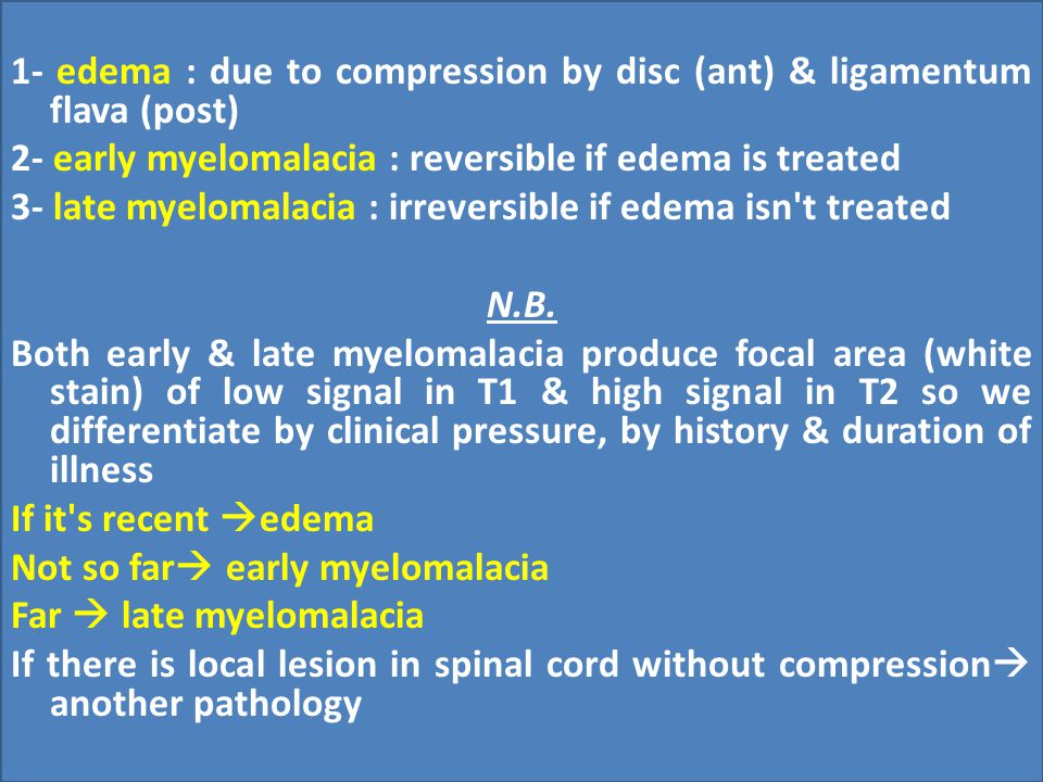 1- edema : due to compression by disc (ant) & ligamentum flava (post)